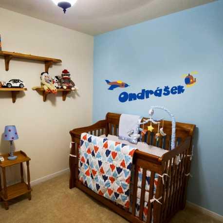Jméno, letadlo a vrtulník - dětské samolepky na zeď