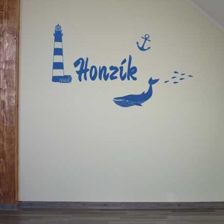 Na pobřeží -samolepka na zeď s vlastním jménem