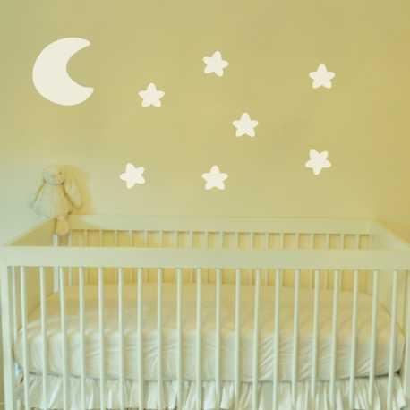 Dětská samolepka - Měsíc a hvězdy | malé