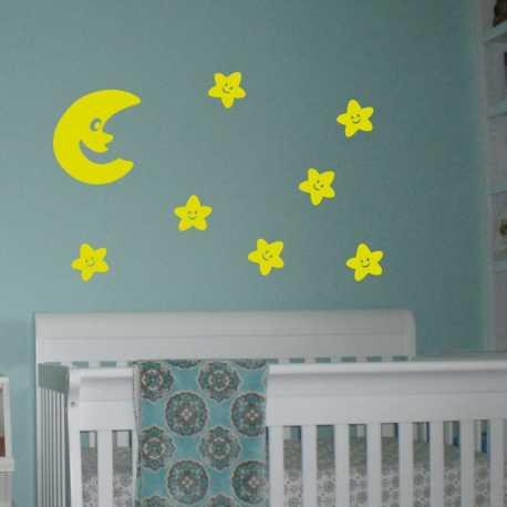 Dětské samolepky na zeď Veselý měsíc a hvězdy