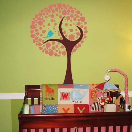 Samolepící dekorace Strom s ptáčkem